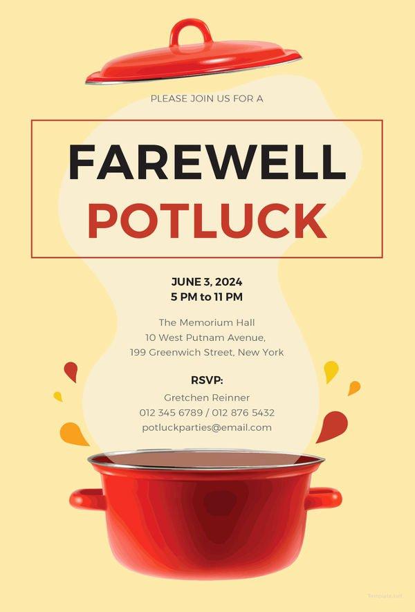 Potluck Invitation Template Free New Farewell Party Invitation Template 29 Free Psd format