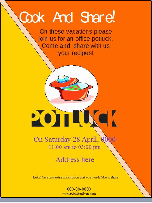 Potluck Invitation Template Free New Fice Potluck Flyer Template – Publisher Flyer Templates