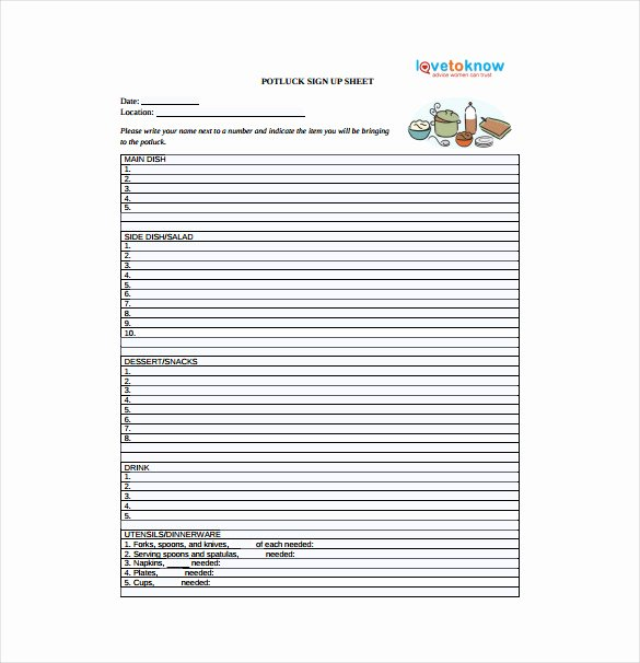 Potluck Signup Sheet Template New 19 Sign Up Sheet Templates – Free Sample Example format