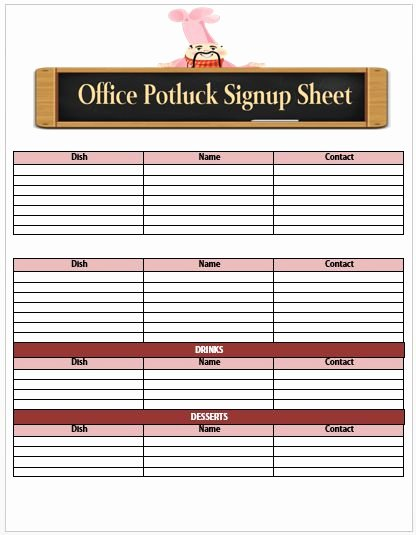 Potluck Signup Sheet Template New 60 Best Potluck Signup Sheets for Free 5th E Will