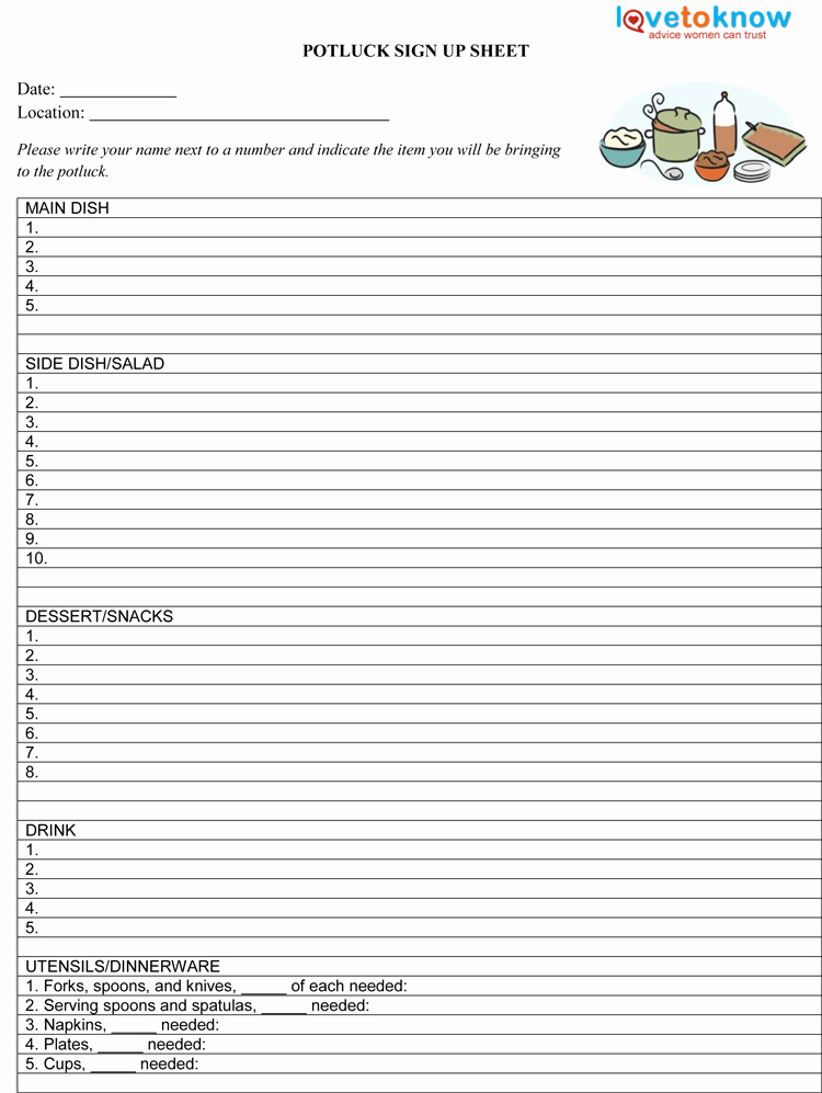potluck sign up sheet template microsoft