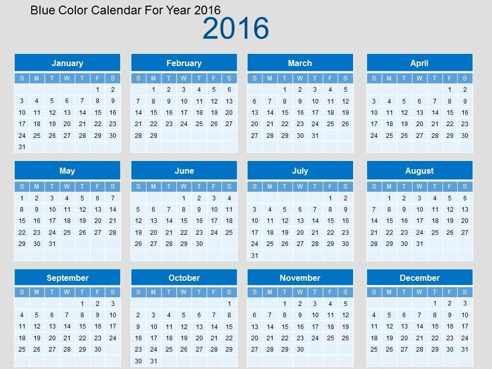 Powerpoint 2016 Calendar Template Awesome Blue Color Calendar for Year 2016 Flat Powerpoint Design