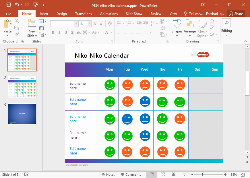 Powerpoint 2016 Calendar Template Awesome Free Mood Calendar Powerpoint Template