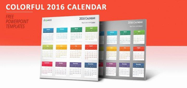 Powerpoint 2016 Calendar Template Best Of Colorful 2016 Calendar for Powerpoint