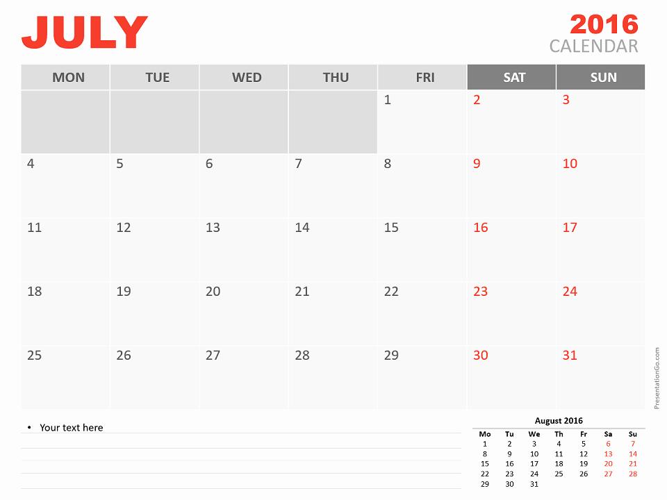 Powerpoint 2016 Calendar Template Fresh August 2016 Powerpoint Calendar Presentationgo