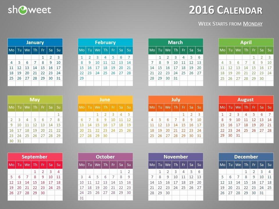 Powerpoint 2016 Calendar Template Inspirational 2016 Calendar Template Powerpoint