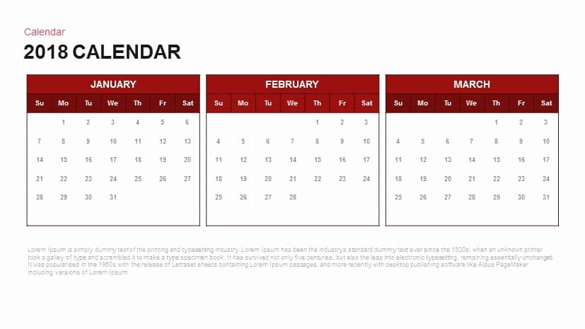 Powerpoint 2016 Calendar Template Lovely 2018 Calendar Powerpoint and Keynote Template Slidebazaar