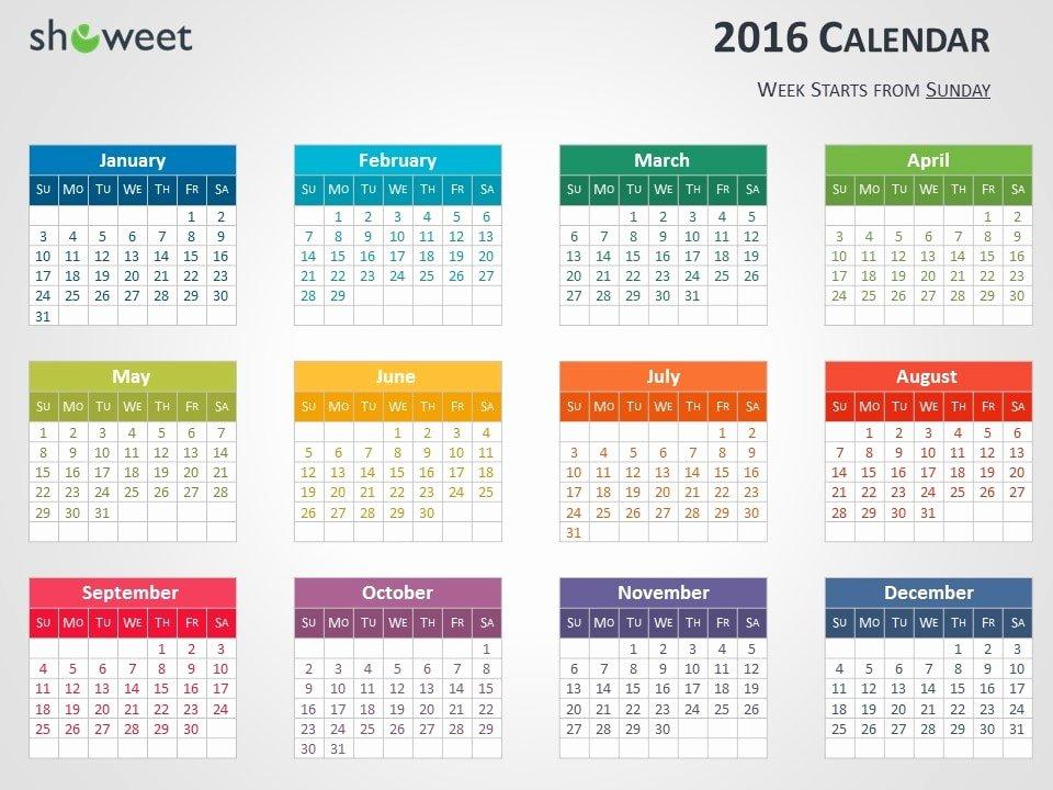 Powerpoint 2016 Calendar Template Lovely Colorful 2016 Calendar for Powerpoint