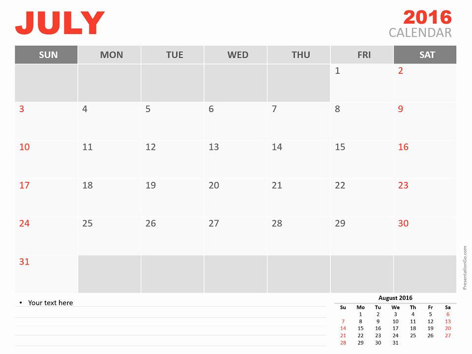Powerpoint 2016 Calendar Template Unique July 2016 Powerpoint Calendar Presentationgo