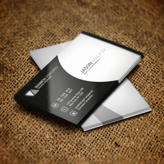 Powerpoint Business Card Template Awesome Black and White Business Card Psd Template Template for