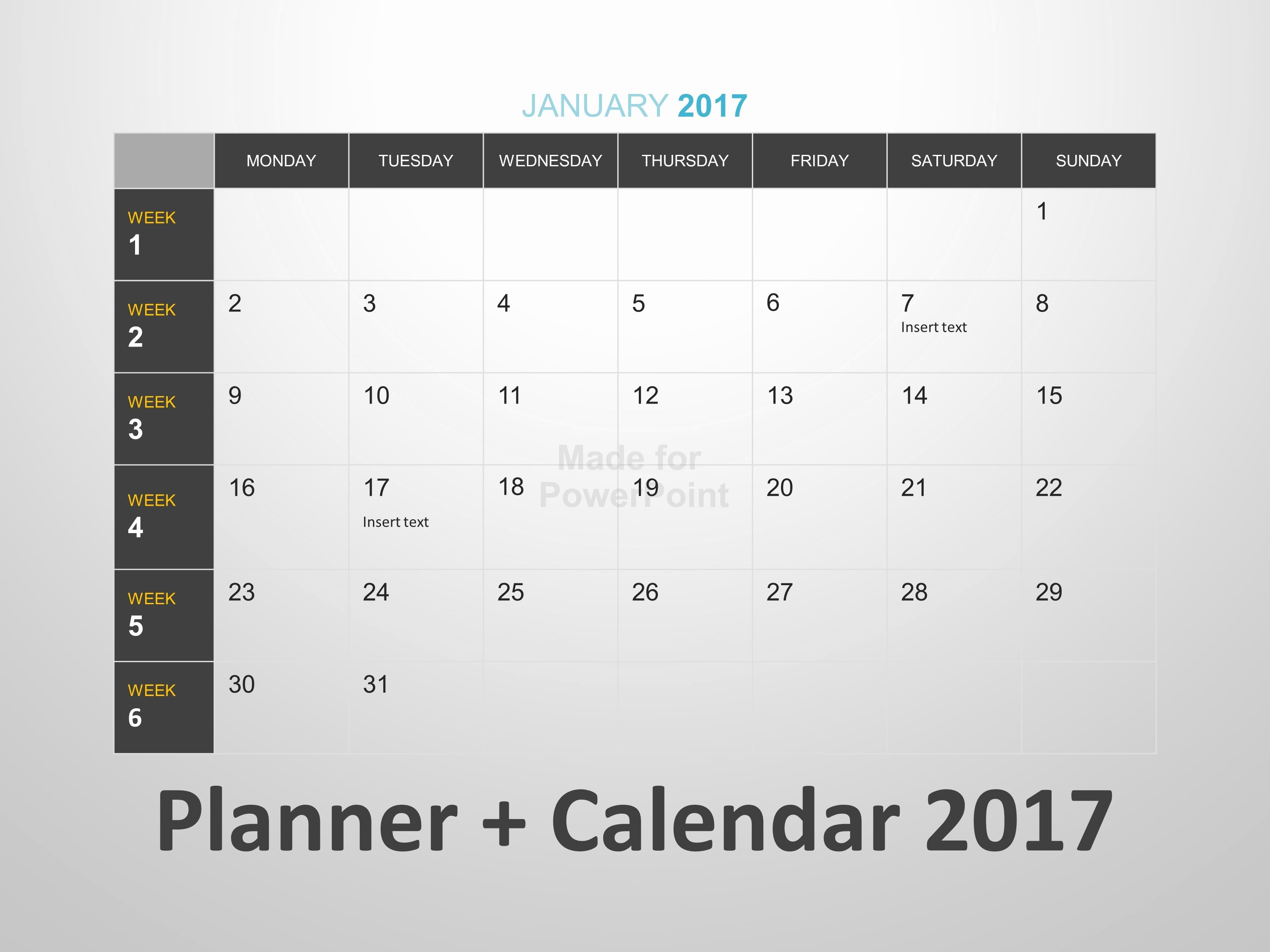 Powerpoint Calendar Template 2017 Awesome Planner Calendar Editable Powerpoint Template
