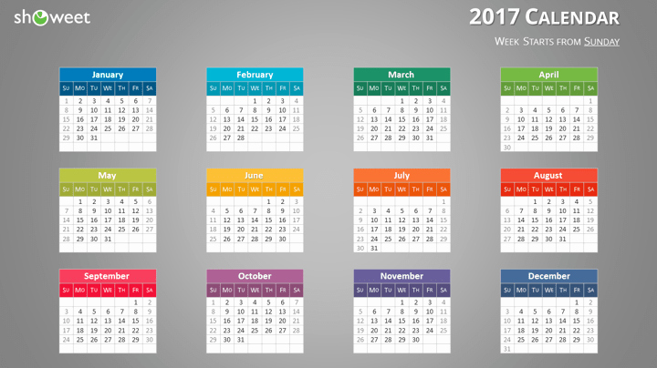 Powerpoint Calendar Template 2017 Beautiful Colorful 2017 Calendar for Powerpoint and Keynote