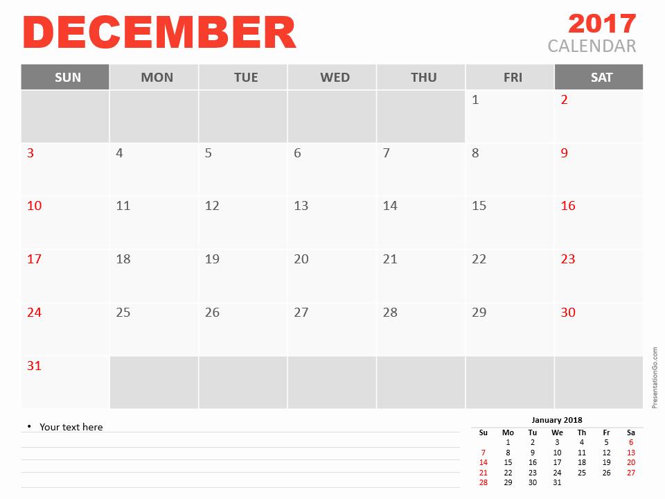Powerpoint Calendar Template 2017 Best Of December 2017 Powerpoint Calendar Presentationgo