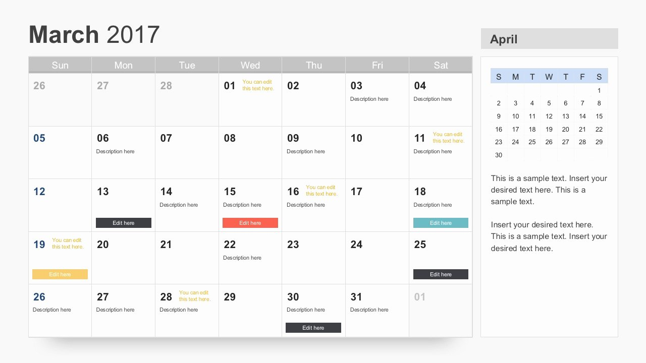 Powerpoint Calendar Template 2017 Inspirational Free Calendar 2017 Template