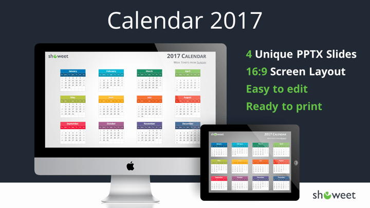 Powerpoint Calendar Template 2017 Luxury Colorful 2017 Calendar for Powerpoint and Keynote