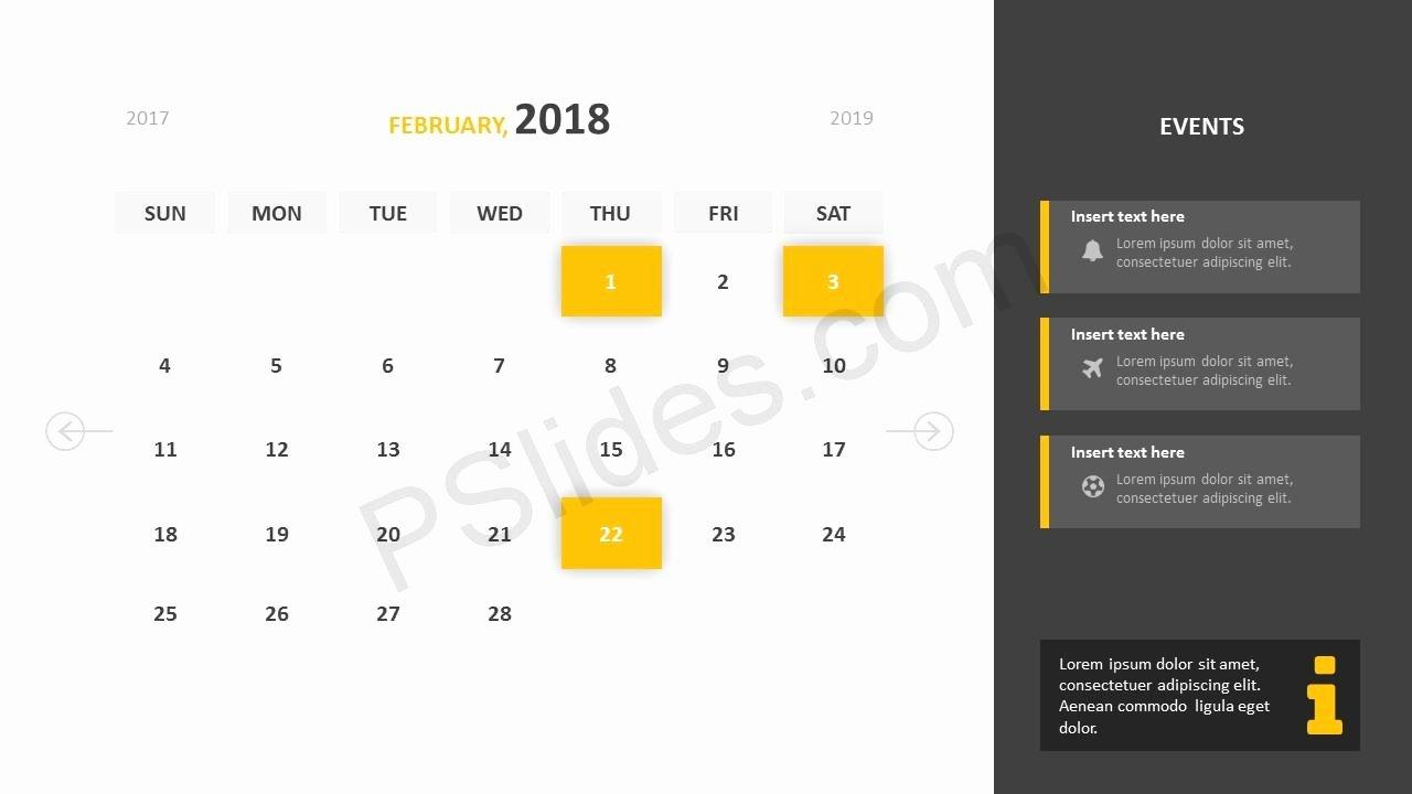 Powerpoint Calendar Template 2017 Luxury Free 2018 Calendar Powerpoint Template Pslides