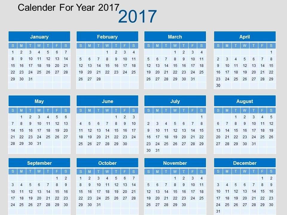 calendar for year 2017 flat powerpoint design