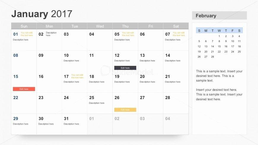 Powerpoint Calendar Template 2017 New Free 2017 Calendar for Powerpoint Slidemodel