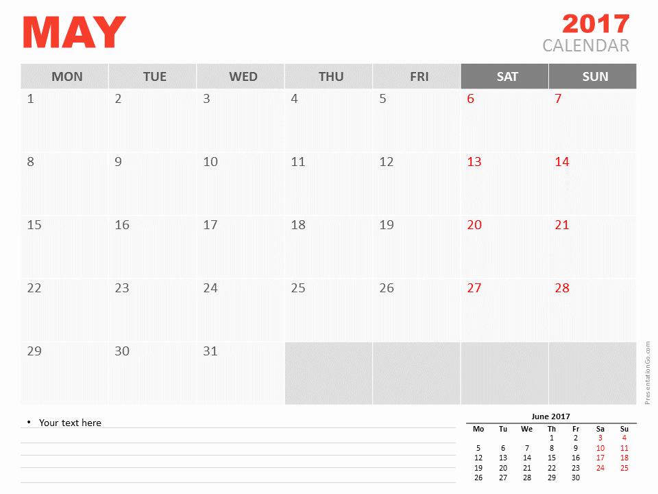 Powerpoint Calendar Template 2017 Unique May 2017 Powerpoint Calendar Presentationgo