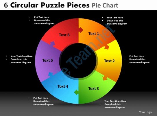 Powerpoint Pie Chart Template Lovely 6 Circular Puzzle Pieces Pie Chart Powerpoint Slides and