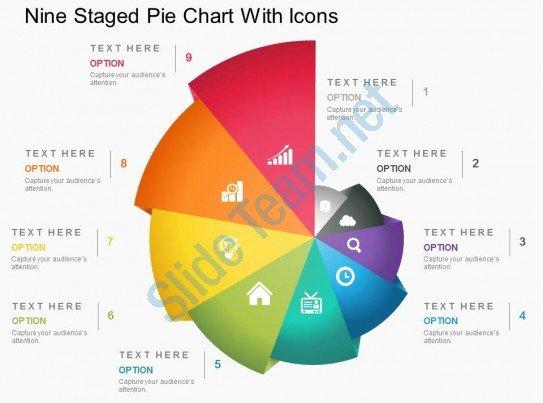 Powerpoint Pie Chart Template Unique Fp Nine Staged Pie Chart with Icons Powerpoint Template