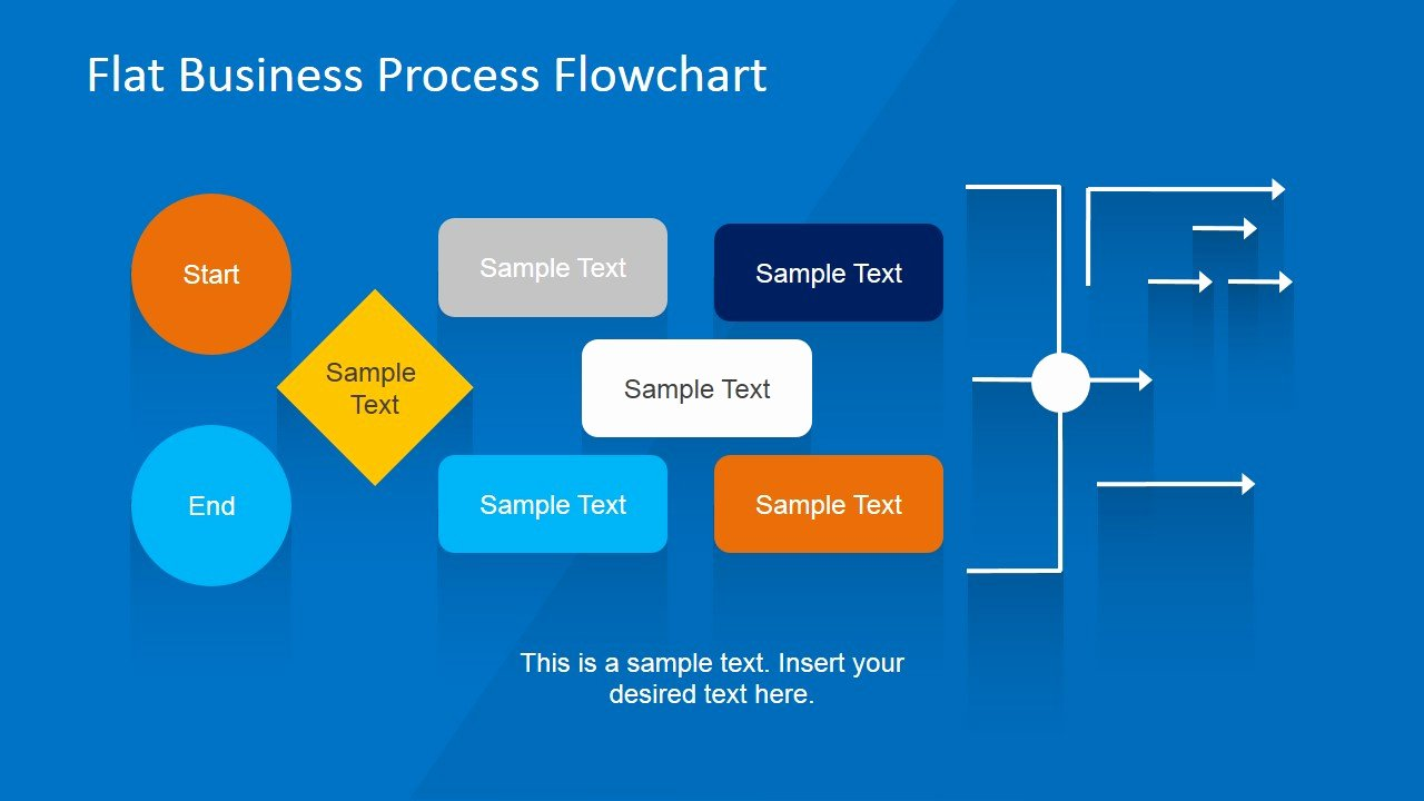 Powerpoint Process Flow Template Awesome Flat Business Process Flowchart for Powerpoint Slidemodel