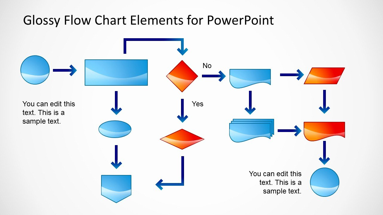 glossy flow chart template powerpoint