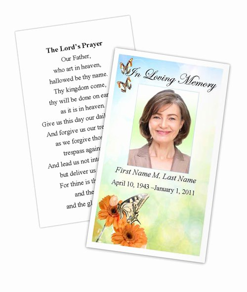 Prayer Card Template Free Awesome Beautiful butterfly Memorial Prayer Card Template