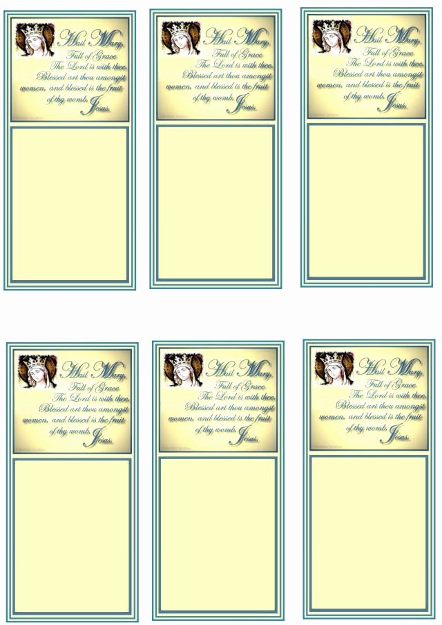 Prayer Card Template Free Elegant Free Hail Mary Prayer Cards and Bookmarks