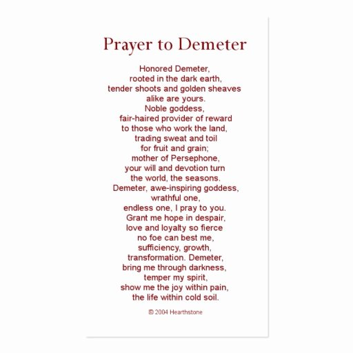 Prayer Card Template Free Luxury Demeter Prayer Card Double Sided Standard Business Cards