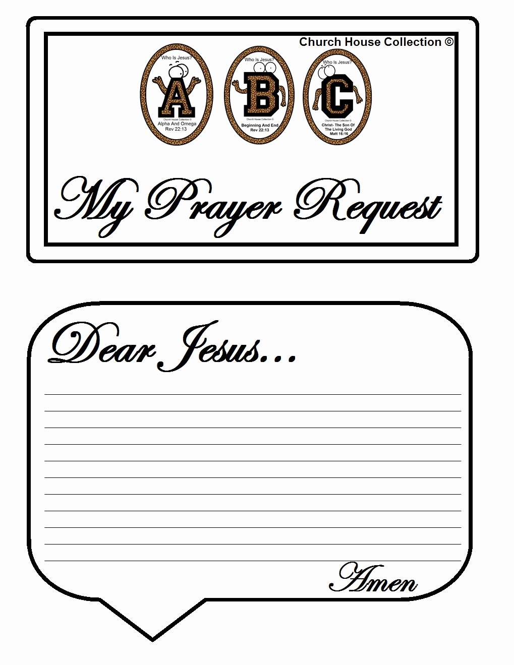 "Prayer Request Card Template Awesome Church House Collection Blog Abc S ""who is Jesus "" White"