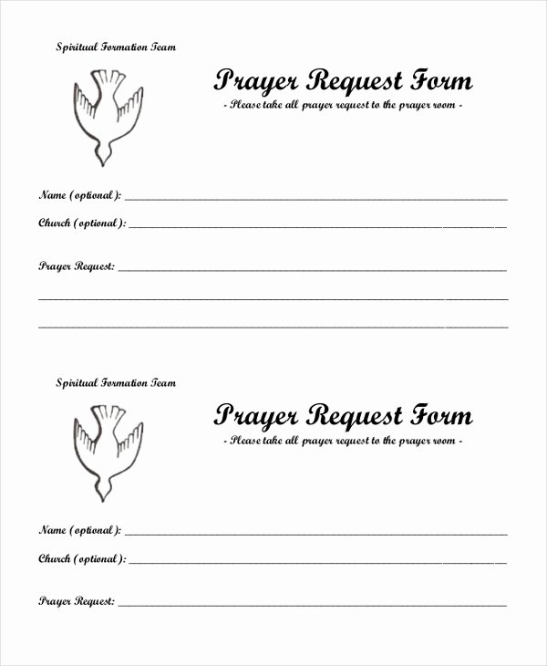 Prayer Request Card Template Inspirational Sample Prayer Request form 10 Free Documents In Pdf