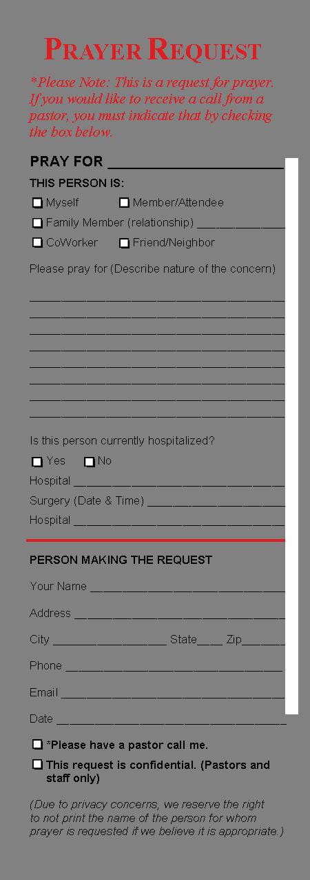 post printable prayer request template