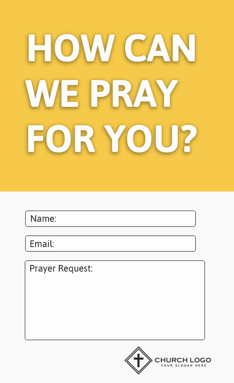 Prayer Request Card Template New Modern Church Connection Cards 5 Free Templates