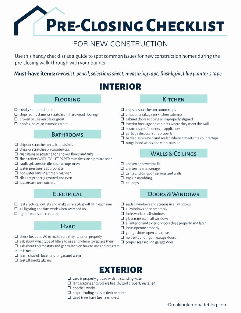 Pre Construction Checklist Template Inspirational Building A House Grab This Free Printable Pre Closing