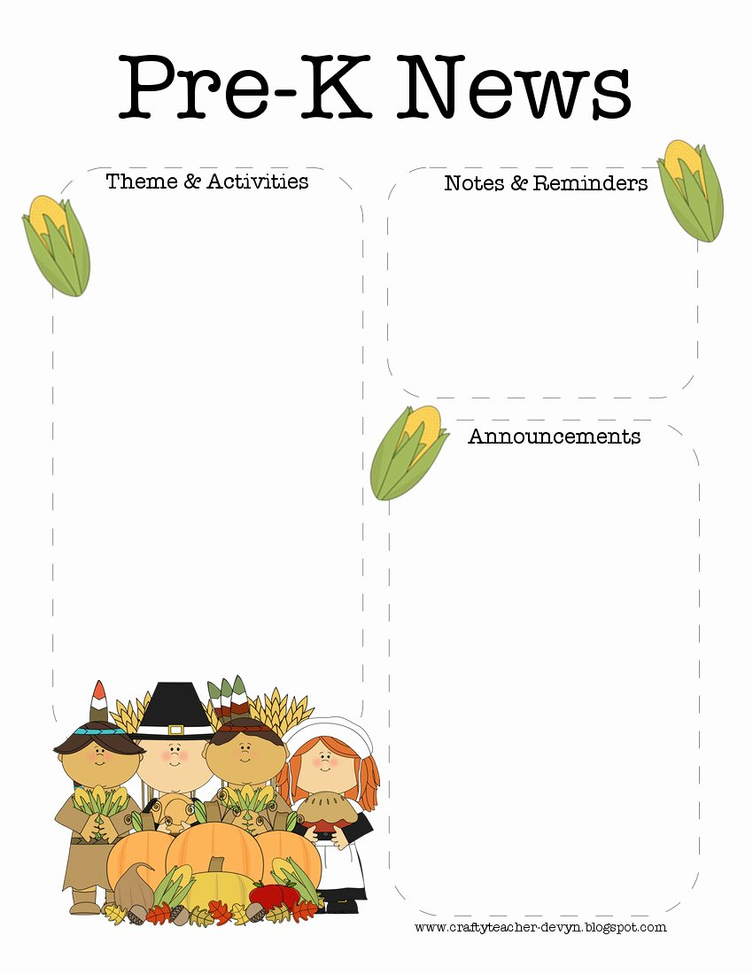 Pre K Newsletter Template Awesome the Crafty Teacher November Thanksgiving Pre K