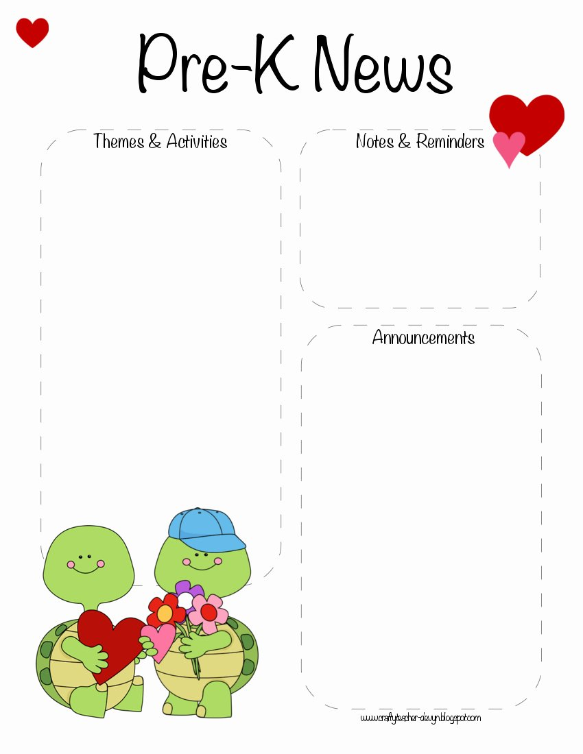 Pre K Newsletter Template Beautiful Pre K Valentine S Day February Newsletter Template