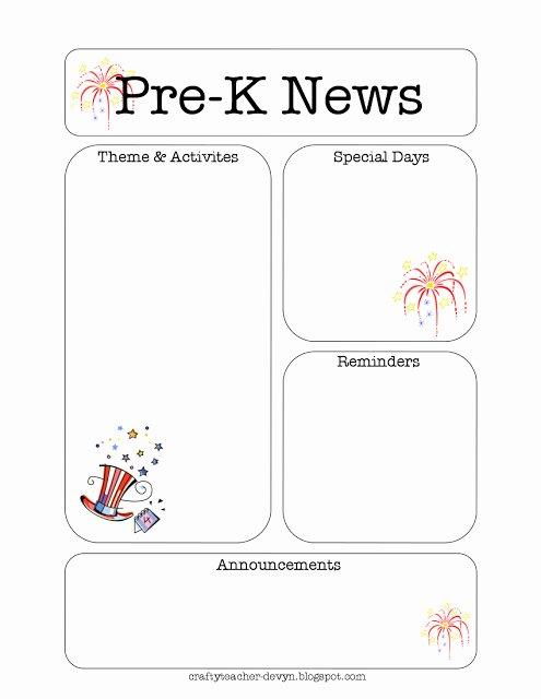Pre K Newsletter Template Best Of July Pre K Newsletter Template