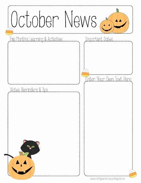 Pre K Newsletter Template Best Of October Preschool Newsletter Template