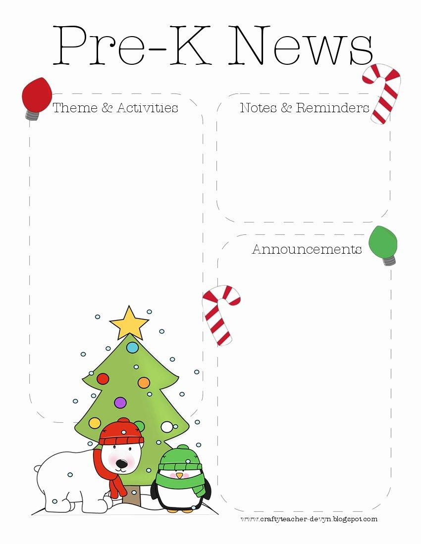 Pre K Newsletter Template Best Of the Crafty Teacher December 2012