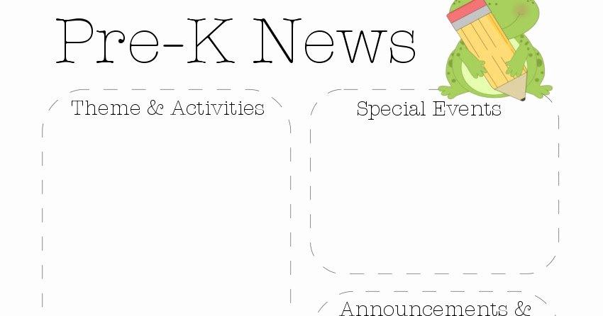 Pre K Newsletter Template Elegant Frog Pre K Newsletter Template