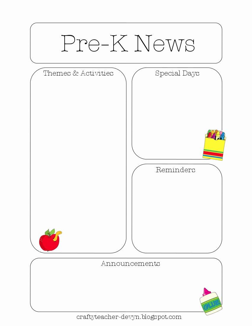 Pre K Newsletter Template Elegant Newsletter Templates