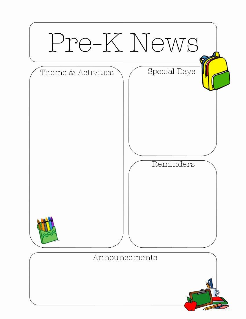 Pre K Newsletter Template Elegant Pre K Newsletter Template