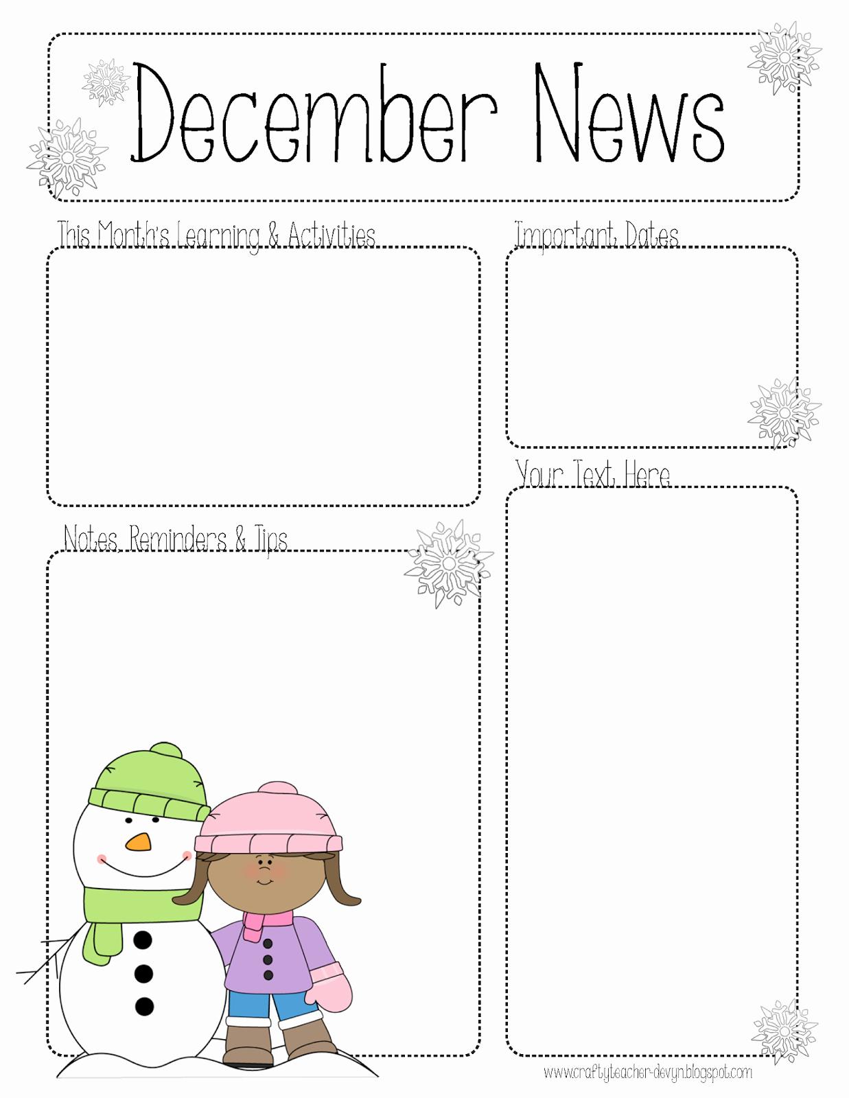 Pre K Newsletter Template Fresh the Crafty Teacher December Newsletter for All Grades