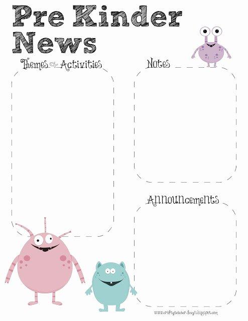 Pre K Newsletter Template Inspirational the Crafty Teacher November Thanksgiving Preschool
