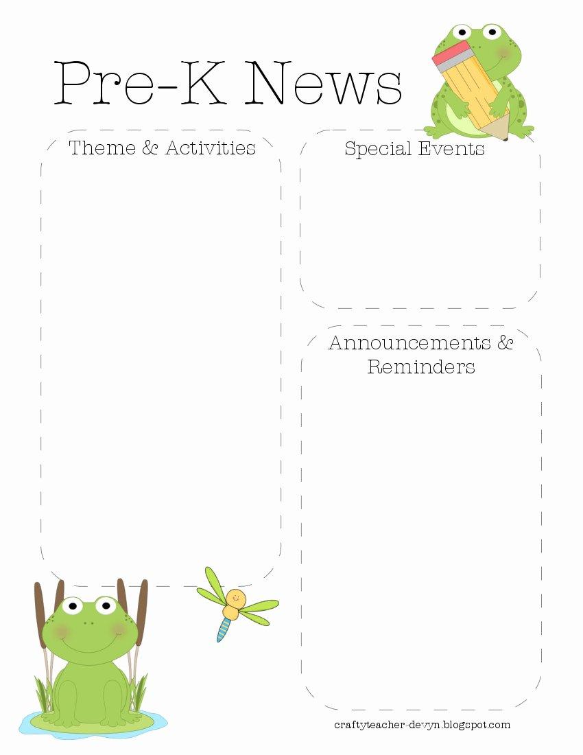 Pre K Newsletter Template Lovely Frog Pre K Newsletter Template