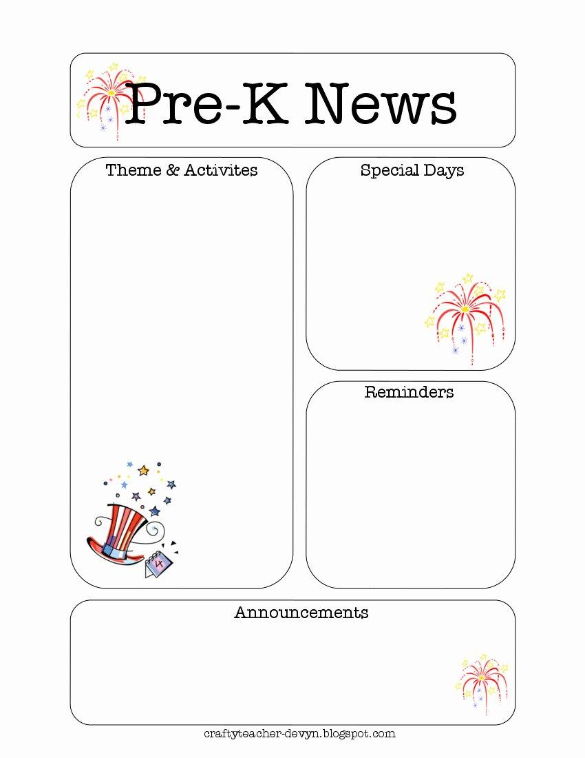 Pre K Newsletter Template Lovely July Pre K Newsletter Template