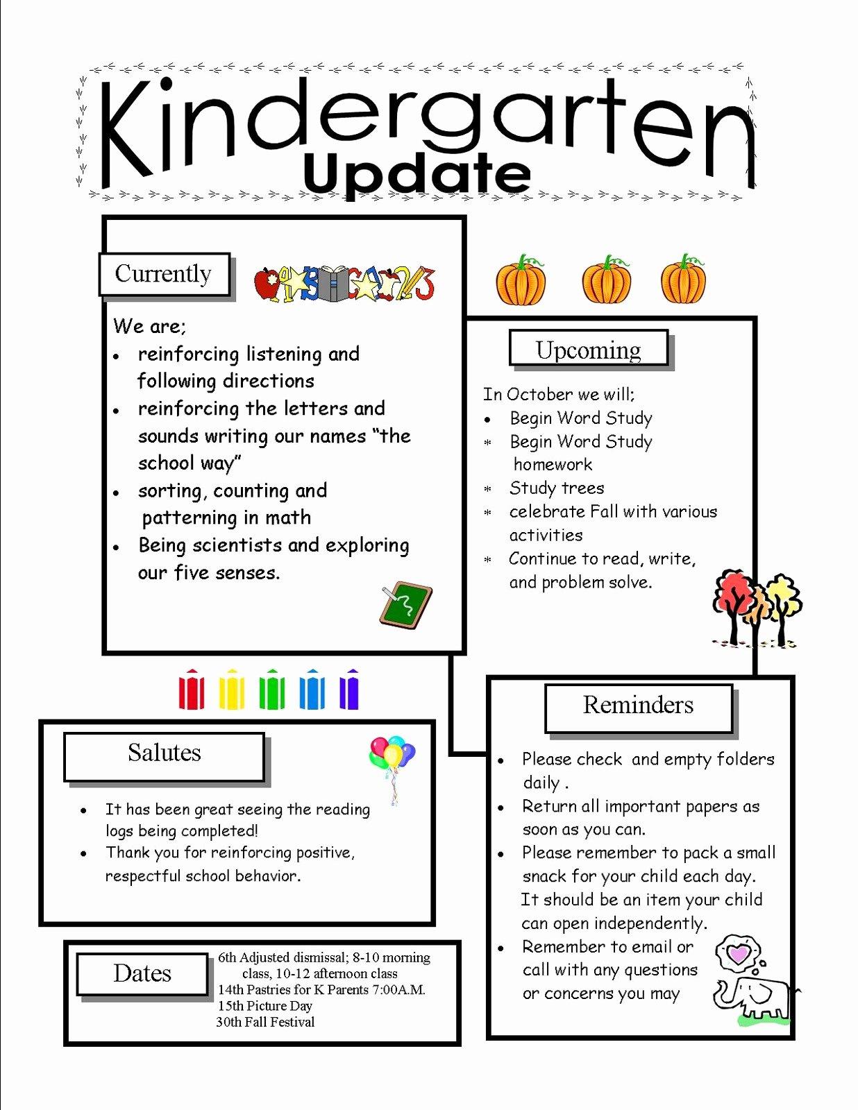 Pre K Newsletter Template Lovely Template Kindergarten Newsletter Template