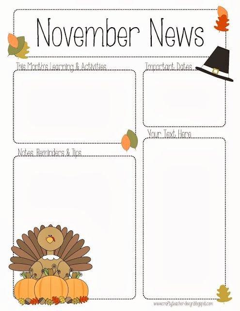 Pre K Newsletter Template New November Newsletter for Preschool Pre K Kindergarten