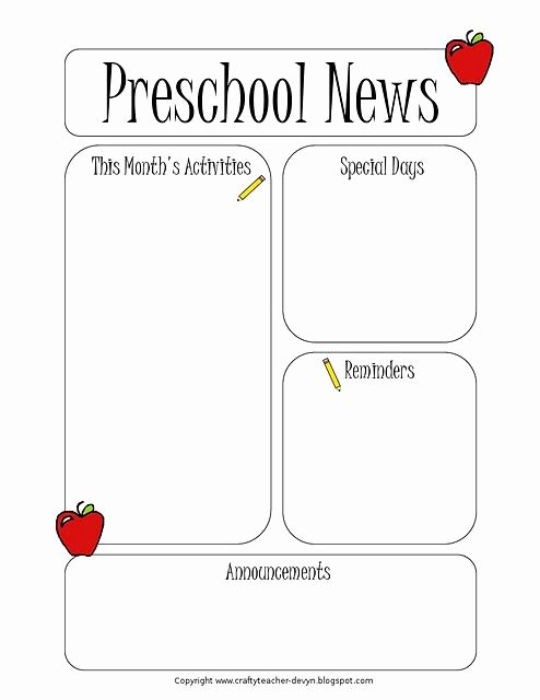 Pre K Newsletter Template Unique 1000 Ideas About Preschool Newsletter On Pinterest